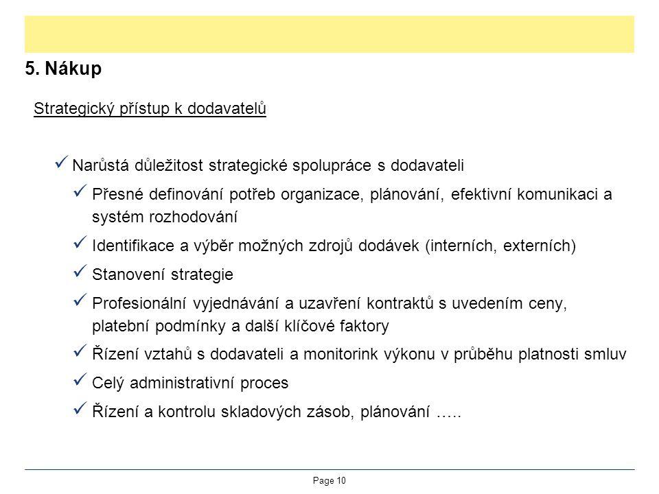 5. Nákup Strategický přístup k dodavatelů