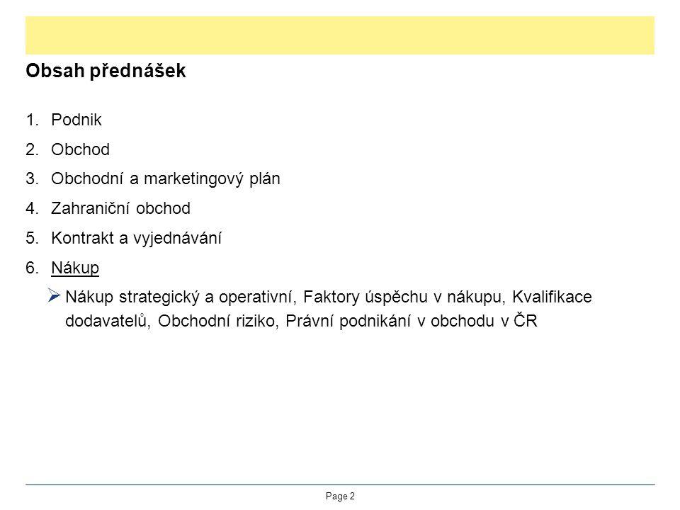 Obsah přednášek Podnik Obchod Obchodní a marketingový plán