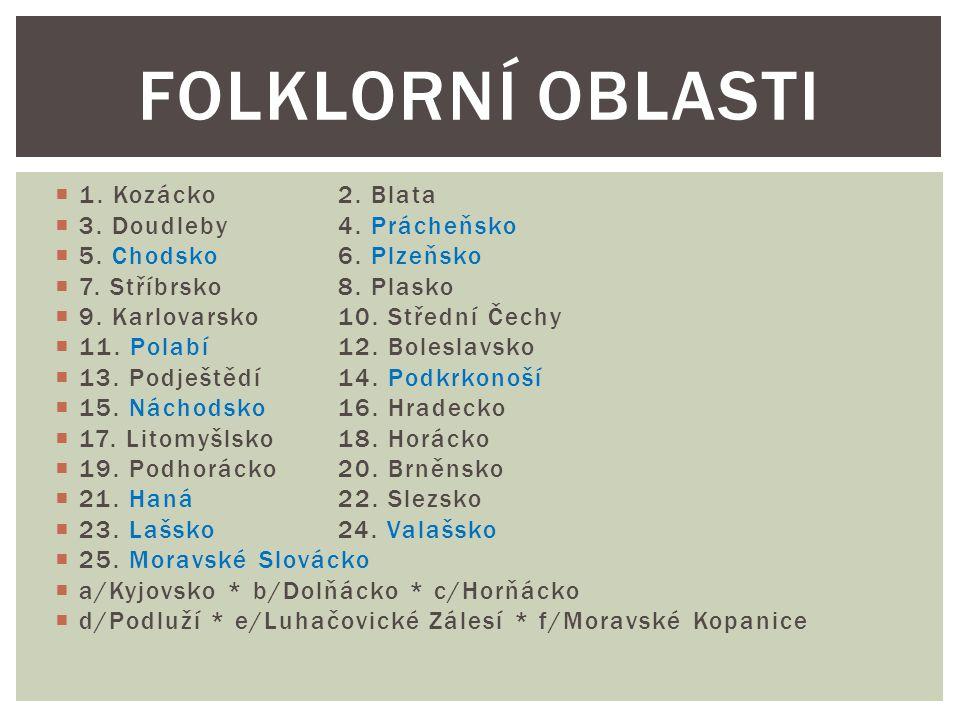 Folklorní oblasti 1. Kozácko 2. Blata 3. Doudleby 4. Prácheňsko