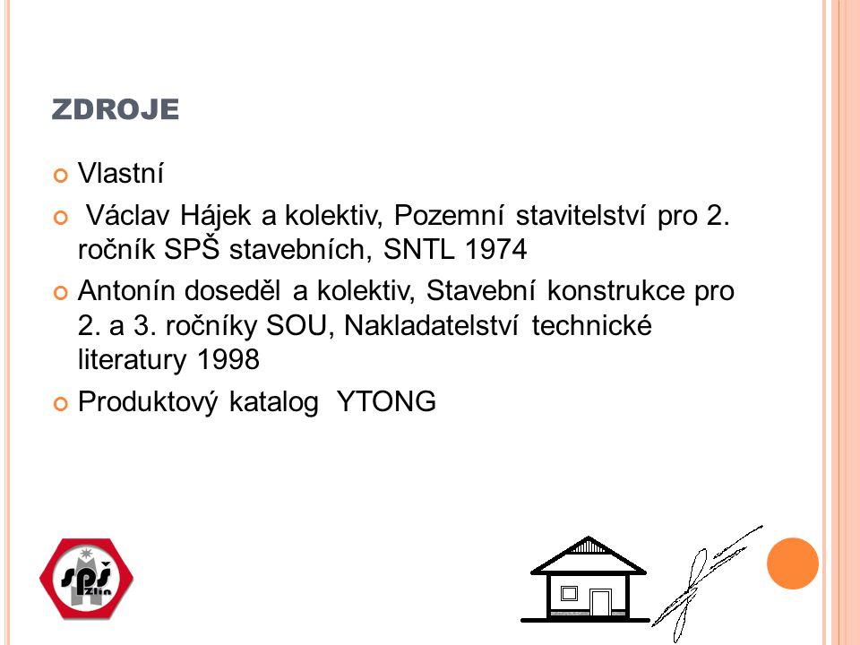 zdroje Vlastní. Václav Hájek a kolektiv, Pozemní stavitelství pro 2. ročník SPŠ stavebních, SNTL 1974.