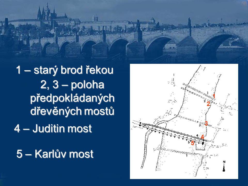 2, 3 – poloha předpokládaných dřevěných mostů