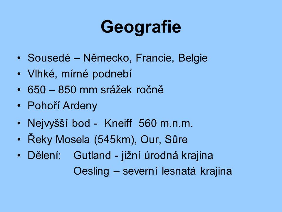 Geografie Sousedé – Německo, Francie, Belgie Vlhké, mírné podnebí