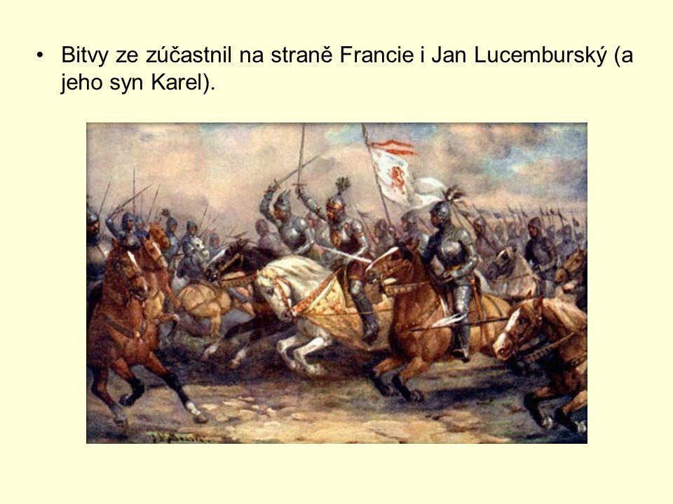 Bitvy ze zúčastnil na straně Francie i Jan Lucemburský (a jeho syn Karel).