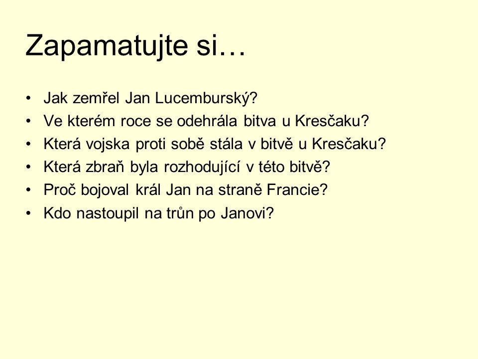 Zapamatujte si… Jak zemřel Jan Lucemburský