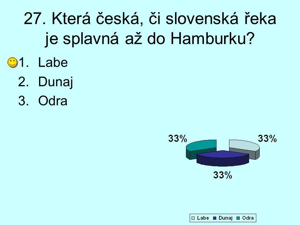 27. Která česká, či slovenská řeka je splavná až do Hamburku
