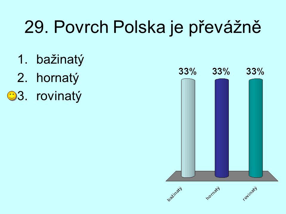 29. Povrch Polska je převážně