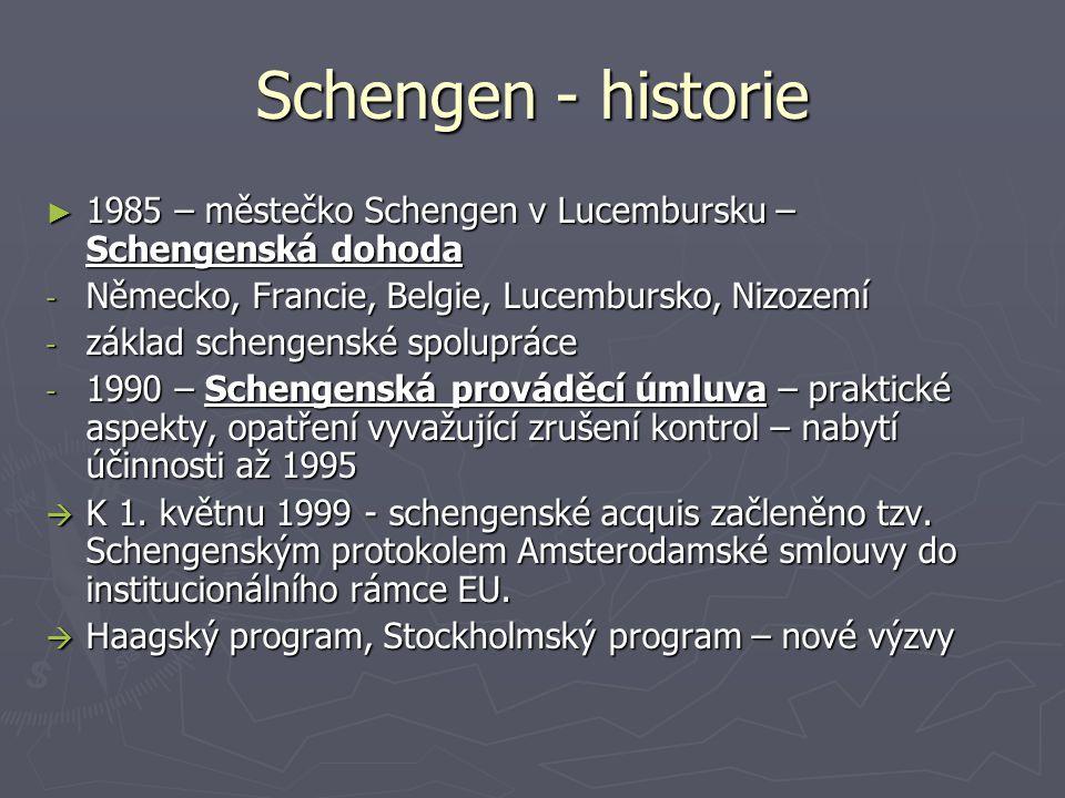 Schengen - historie 1985 – městečko Schengen v Lucembursku – Schengenská dohoda. Německo, Francie, Belgie, Lucembursko, Nizozemí.