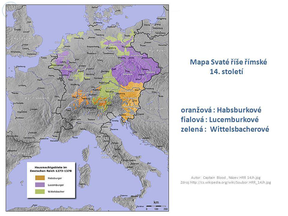 Mapa Svaté říše římské 14. století oranžová : Habsburkové fialová : Lucemburkové zelená : Wittelsbacherové