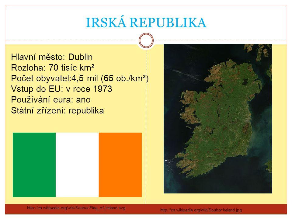 IRSKÁ REPUBLIKA Hlavní město: Dublin Rozloha: 70 tisíc km²
