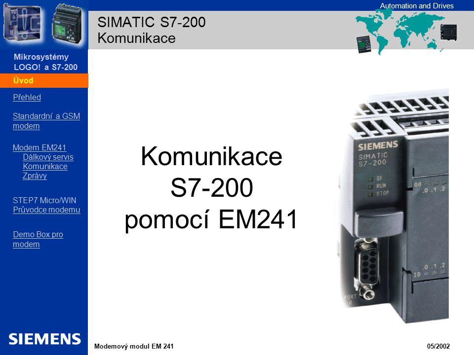 SIMATIC S7-200 Komunikace Úvod Komunikace S7-200 pomocí EM241
