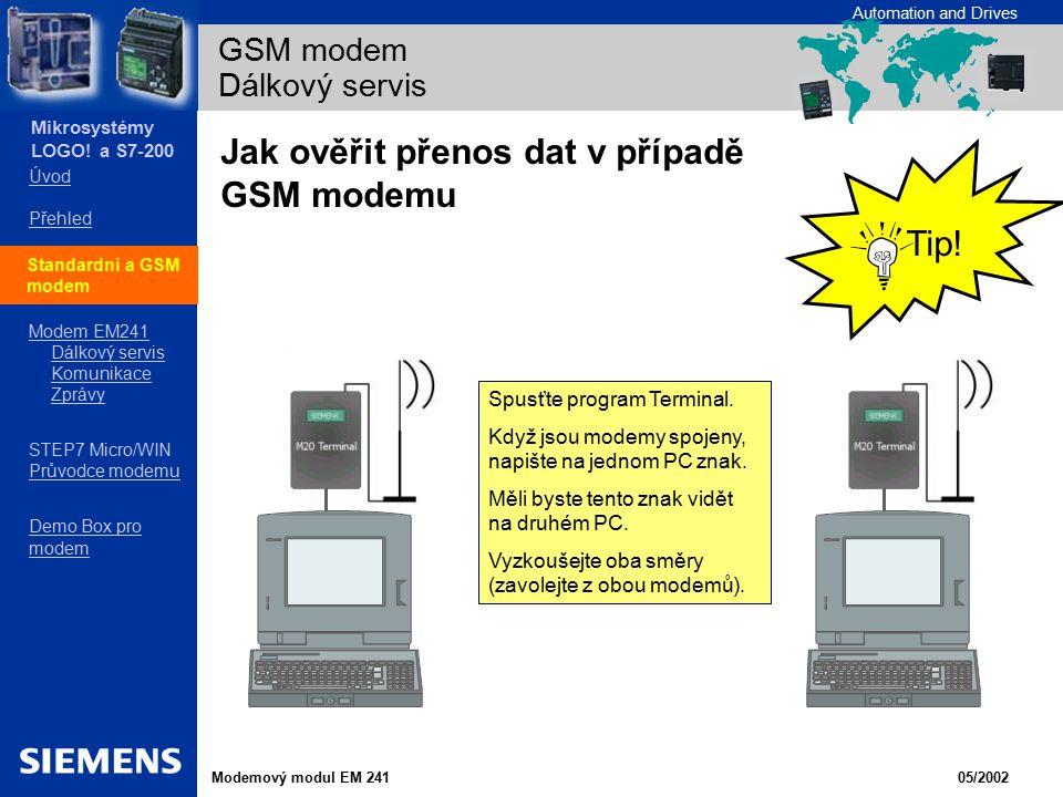GSM modem Dálkový servis