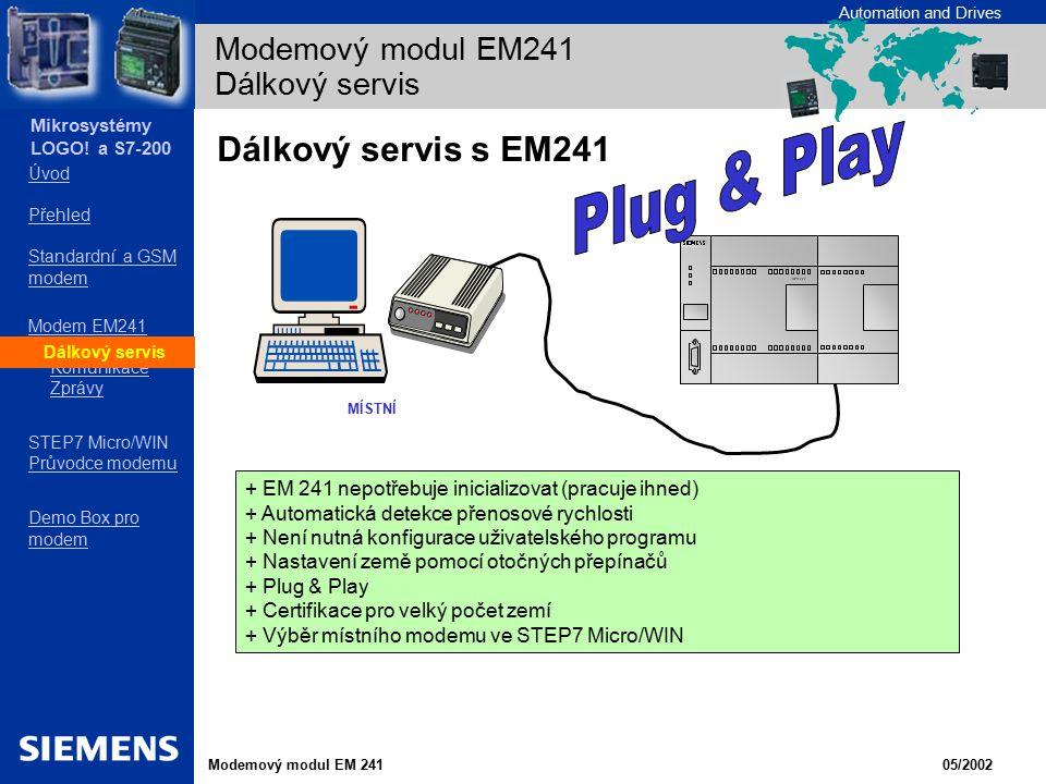 Modemový modul EM241 Dálkový servis