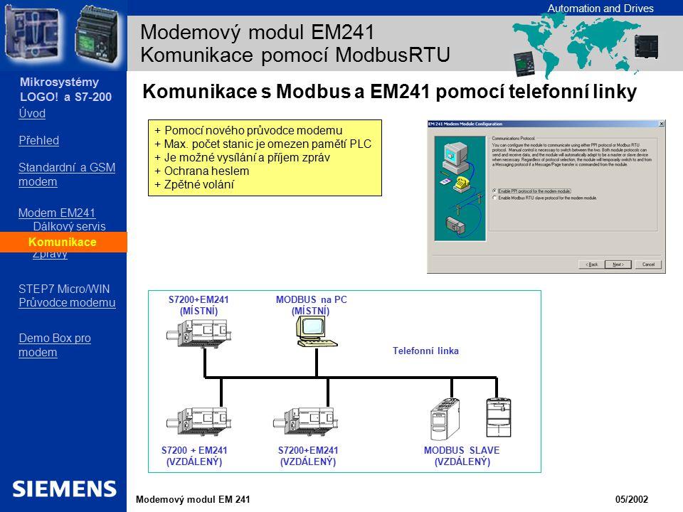 Modemový modul EM241 Komunikace pomocí ModbusRTU