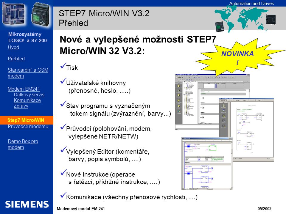 STEP7 Micro/WIN V3.2 Přehled