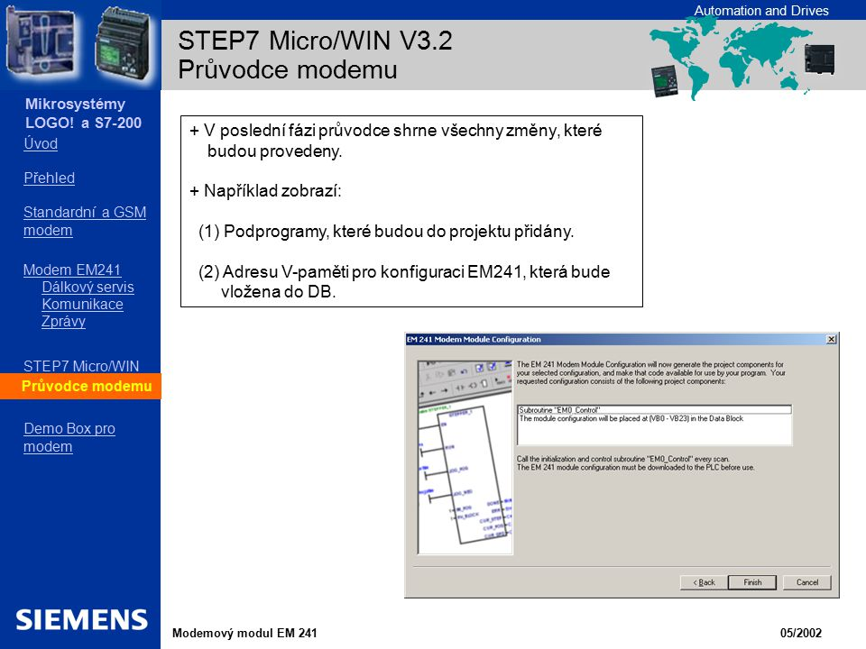 STEP7 Micro/WIN V3.2 Průvodce modemu