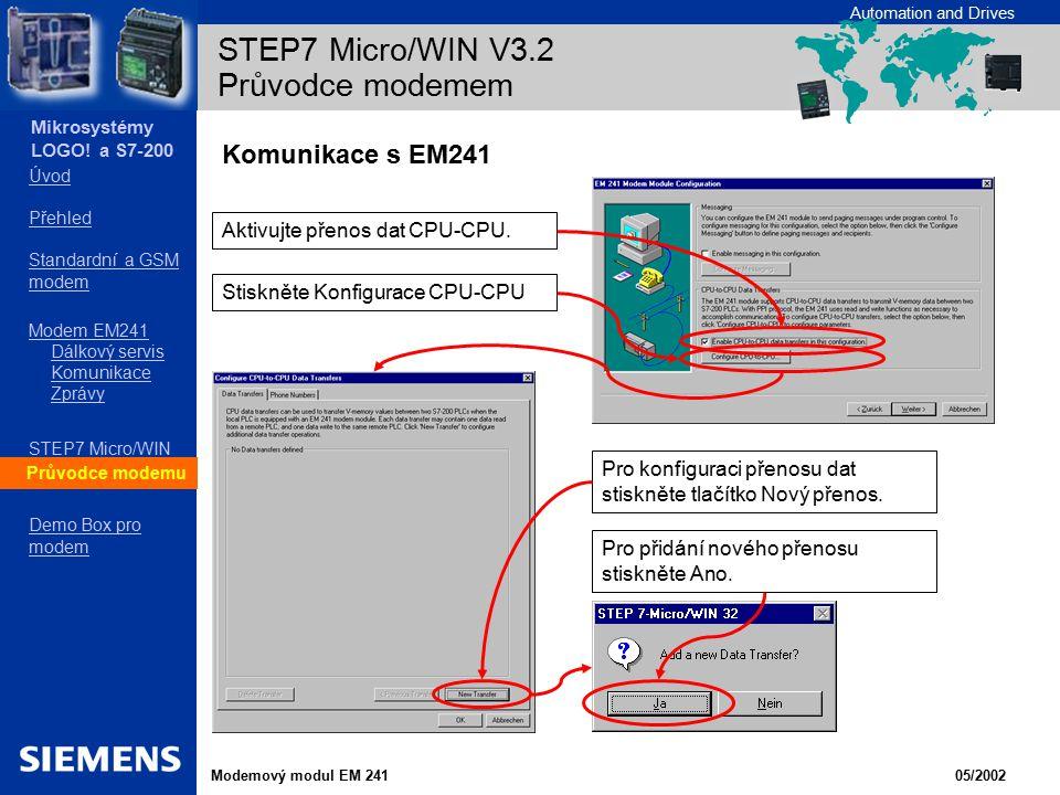 STEP7 Micro/WIN V3.2 Průvodce modemem