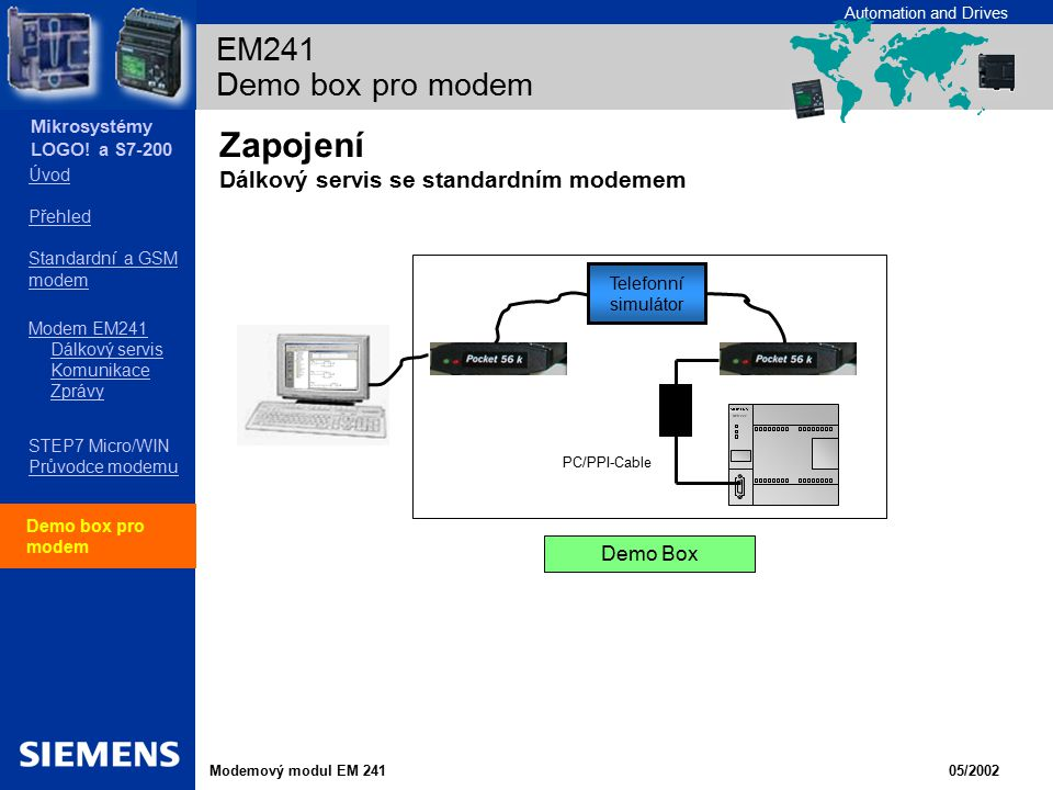 Zapojení Dálkový servis se standardním modemem