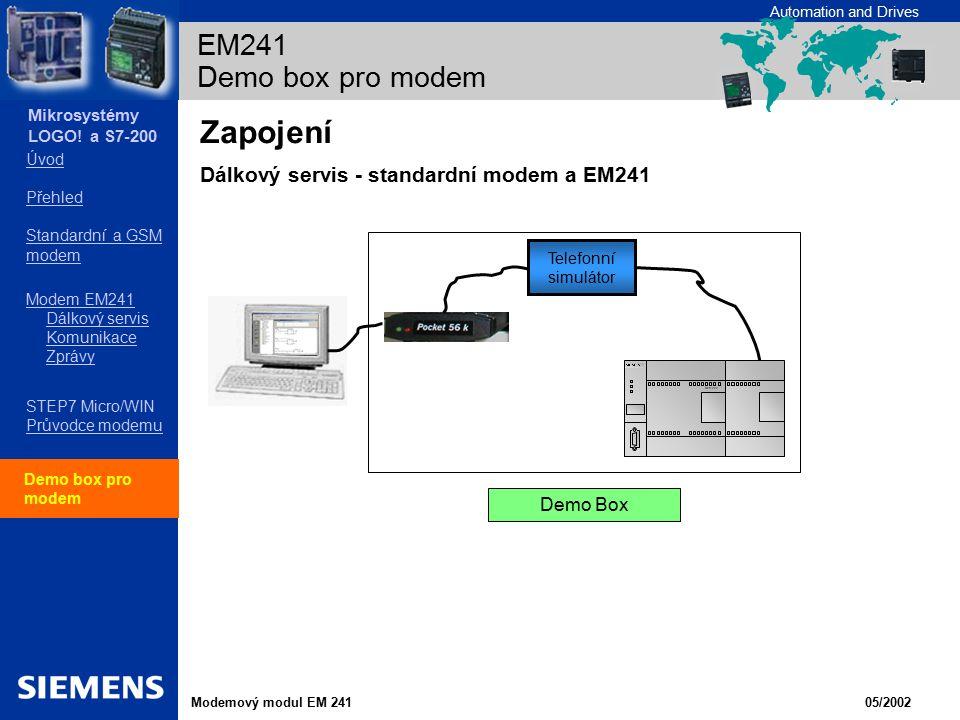 Zapojení Dálkový servis - standardní modem a EM241