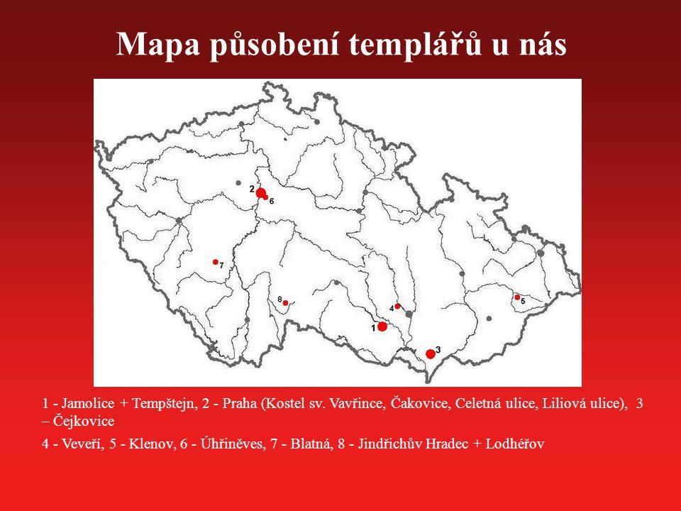 Mapa působení templářů u nás