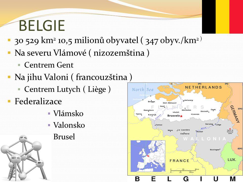 BELGIE 30 529 km2 10,5 milionů obyvatel ( 347 obyv./km2 )