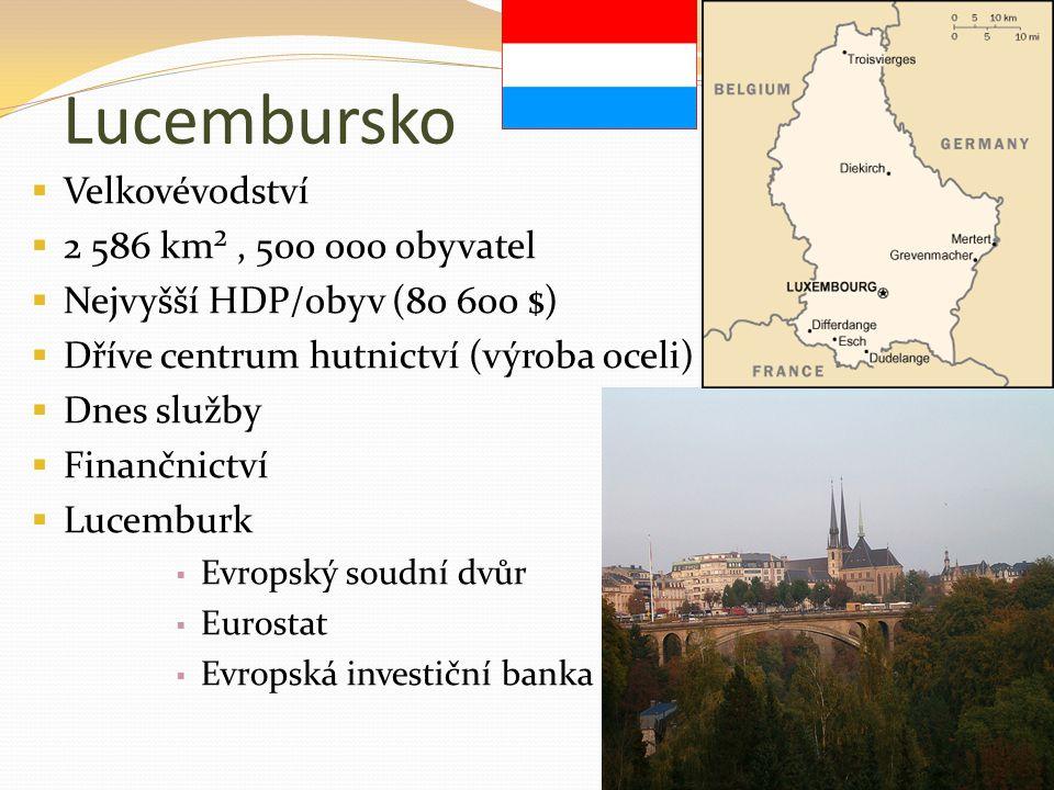 Lucembursko Velkovévodství 2 586 km² , 500 000 obyvatel