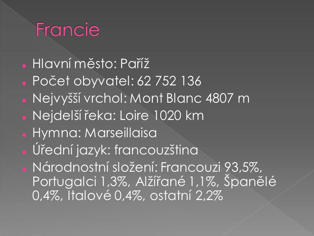 Francie Hlavní město: Paříž Počet obyvatel: 62 752 136