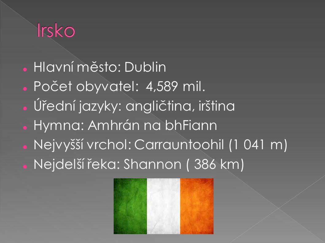 Irsko Hlavní město: Dublin Počet obyvatel: 4,589 mil.