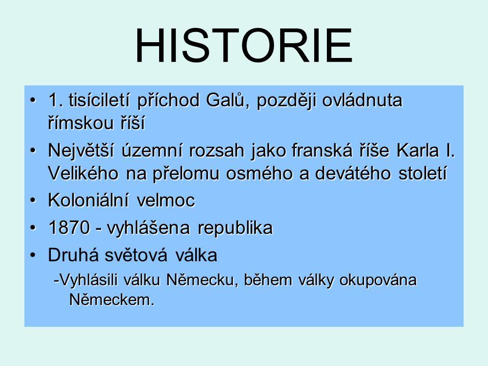 HISTORIE 1. tisíciletí příchod Galů, později ovládnuta římskou říší