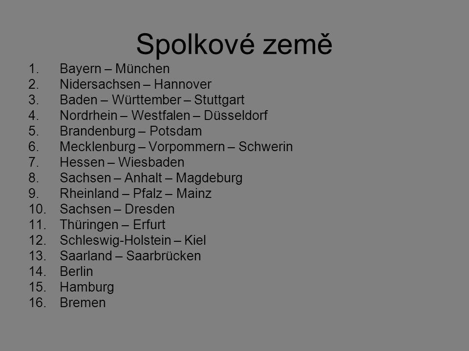 Spolkové země Bayern – München Nidersachsen – Hannover