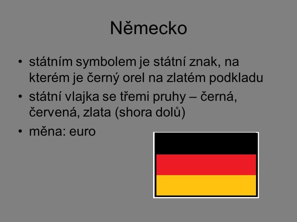 Německo státním symbolem je státní znak, na kterém je černý orel na zlatém podkladu.