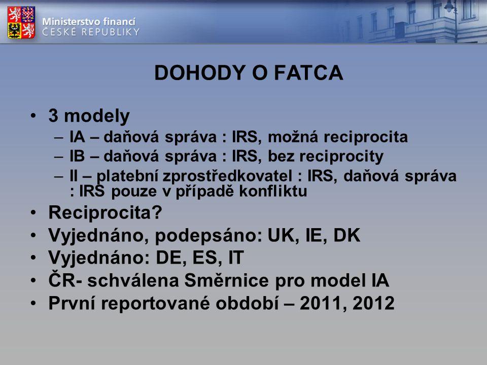 DOHODY O FATCA 3 modely Reciprocita Vyjednáno, podepsáno: UK, IE, DK