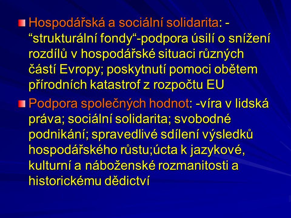 Hospodářská a sociální solidarita: - strukturální fondy -podpora úsilí o snížení rozdílů v hospodářské situaci různých částí Evropy; poskytnutí pomoci obětem přírodních katastrof z rozpočtu EU