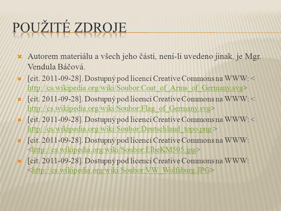 Použité zdroje Autorem materiálu a všech jeho částí, není-li uvedeno jinak, je Mgr. Vendula Báčová.