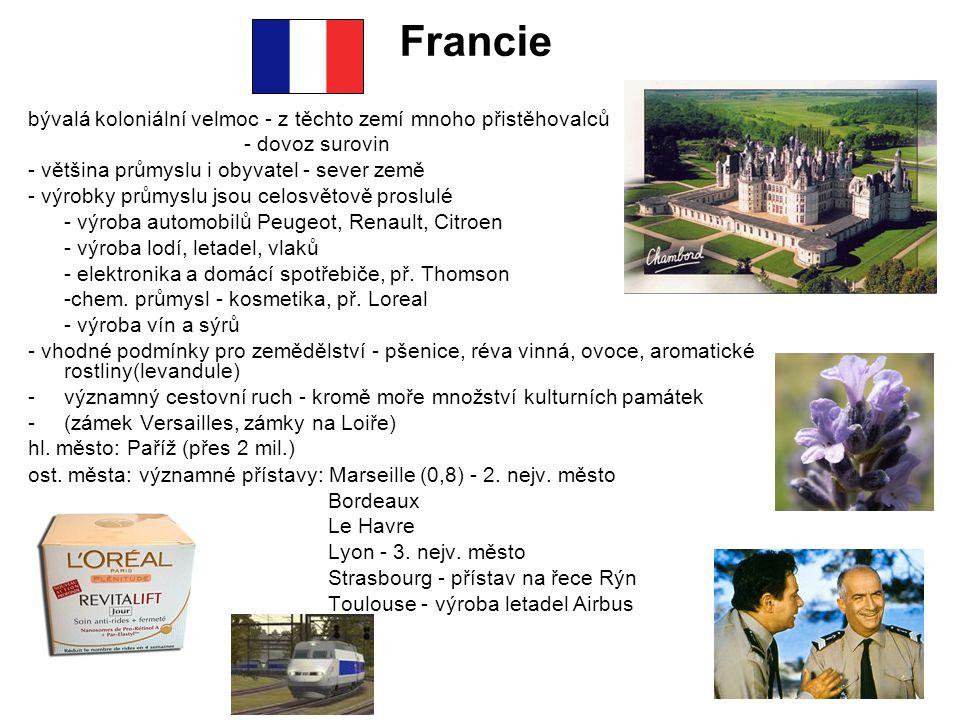 Francie bývalá koloniální velmoc - z těchto zemí mnoho přistěhovalců