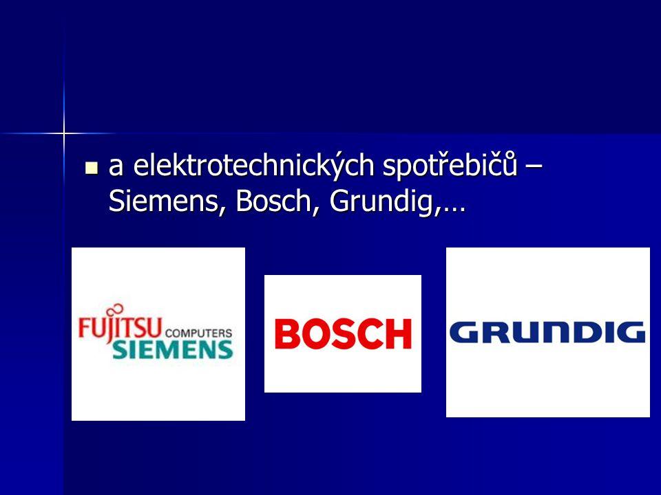a elektrotechnických spotřebičů – Siemens, Bosch, Grundig,…