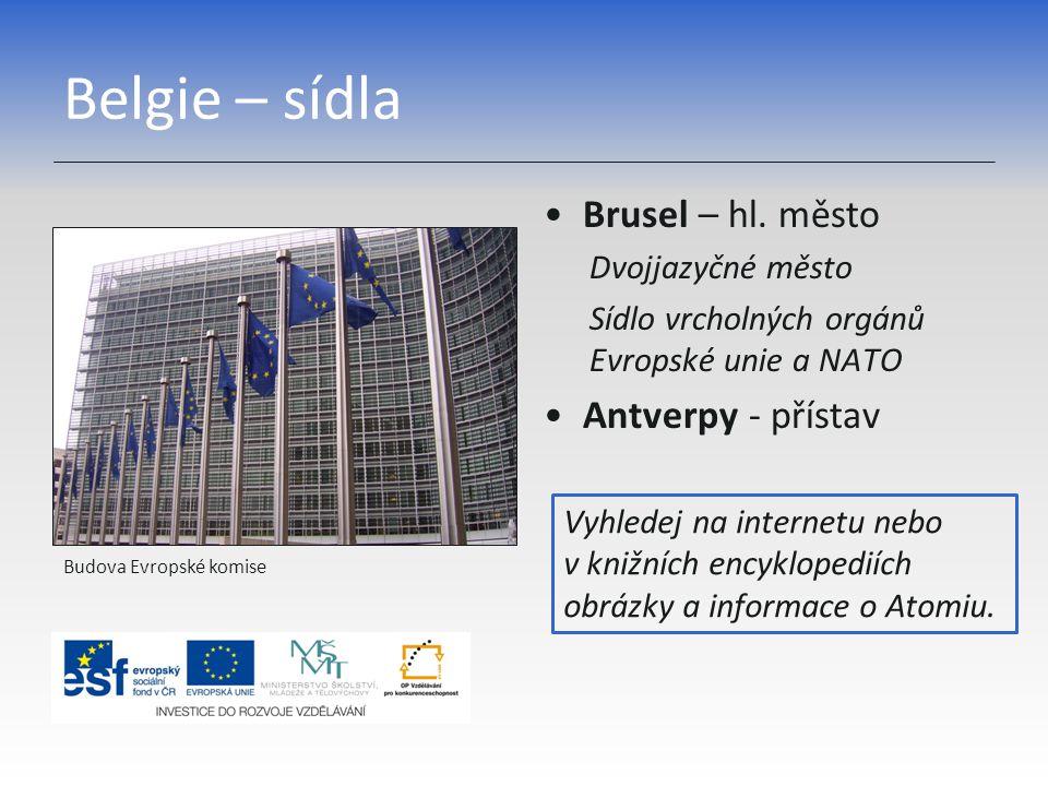Belgie – sídla Brusel – hl. město Antverpy - přístav Dvojjazyčné město