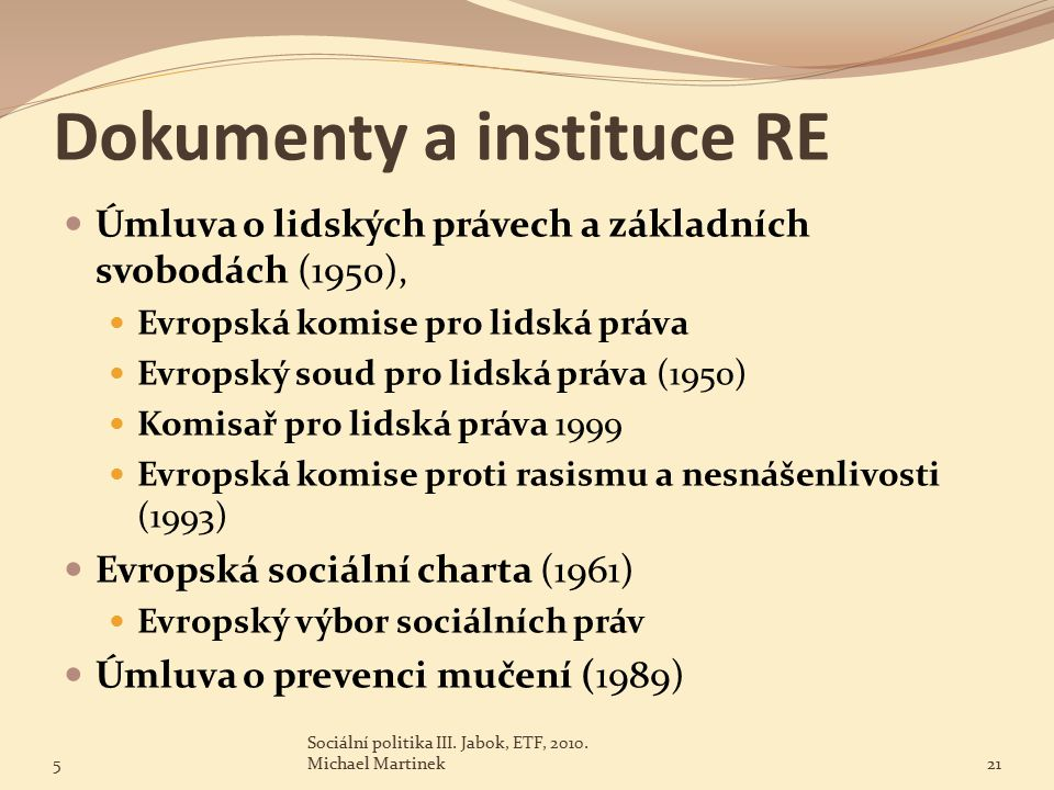 Dokumenty a instituce RE