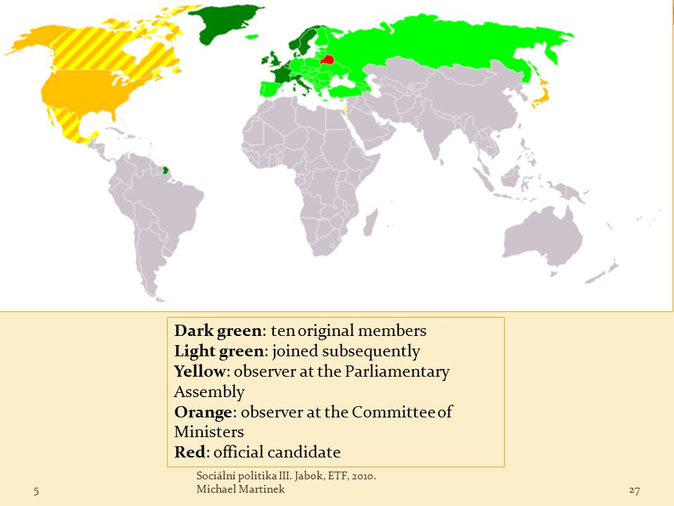 Dark green: ten original members Light green: joined subsequently