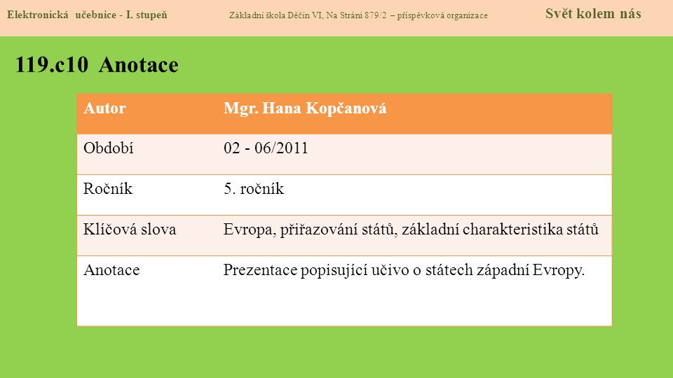 119.c10 Anotace Autor Mgr. Hana Kopčanová Období 02 - 06/2011 Ročník