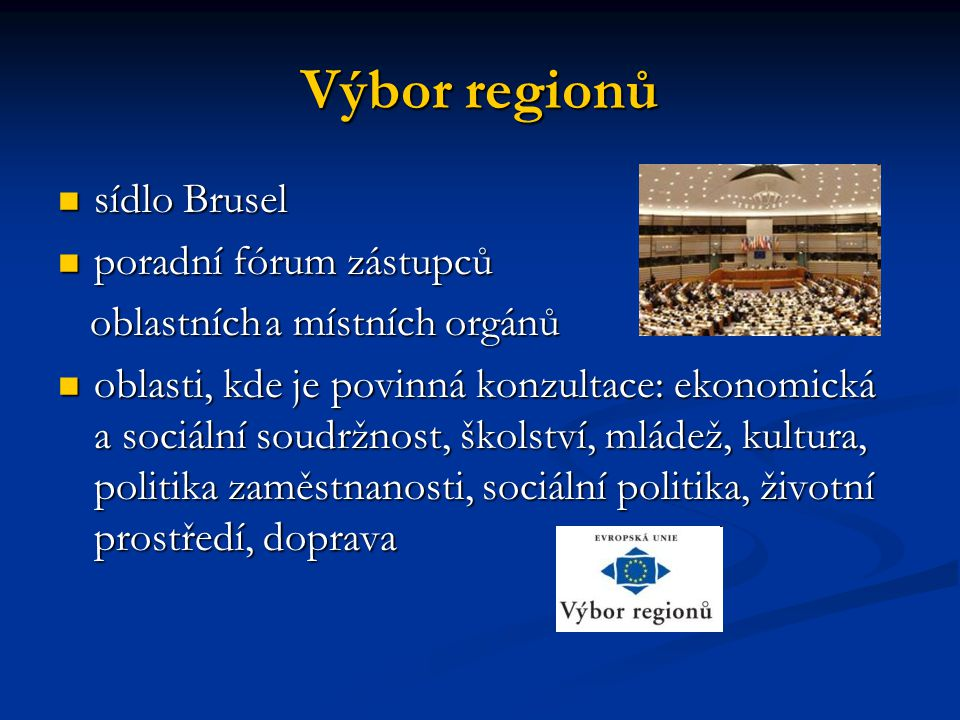 Výbor regionů sídlo Brusel poradní fórum zástupců