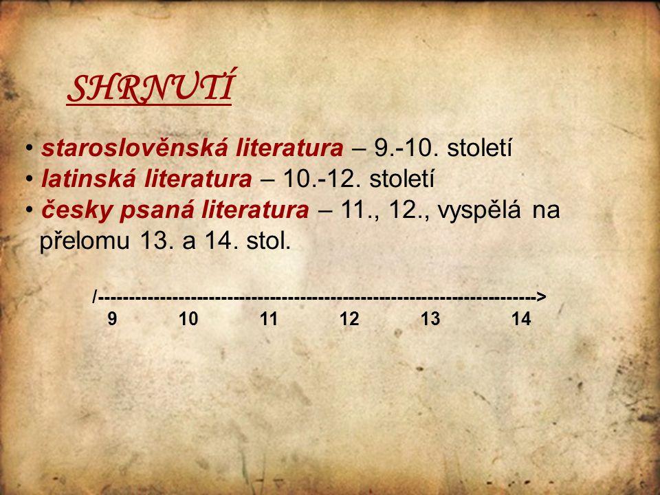 SHRNUTÍ staroslověnská literatura – 9.-10. století