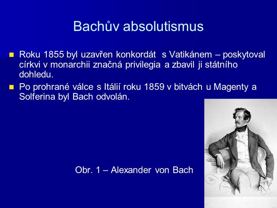 Bachův absolutismus Roku 1855 byl uzavřen konkordát s Vatikánem – poskytoval církvi v monarchii značná privilegia a zbavil ji státního dohledu.