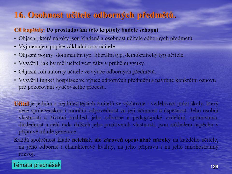 16. Osobnost učitele odborných předmětů.