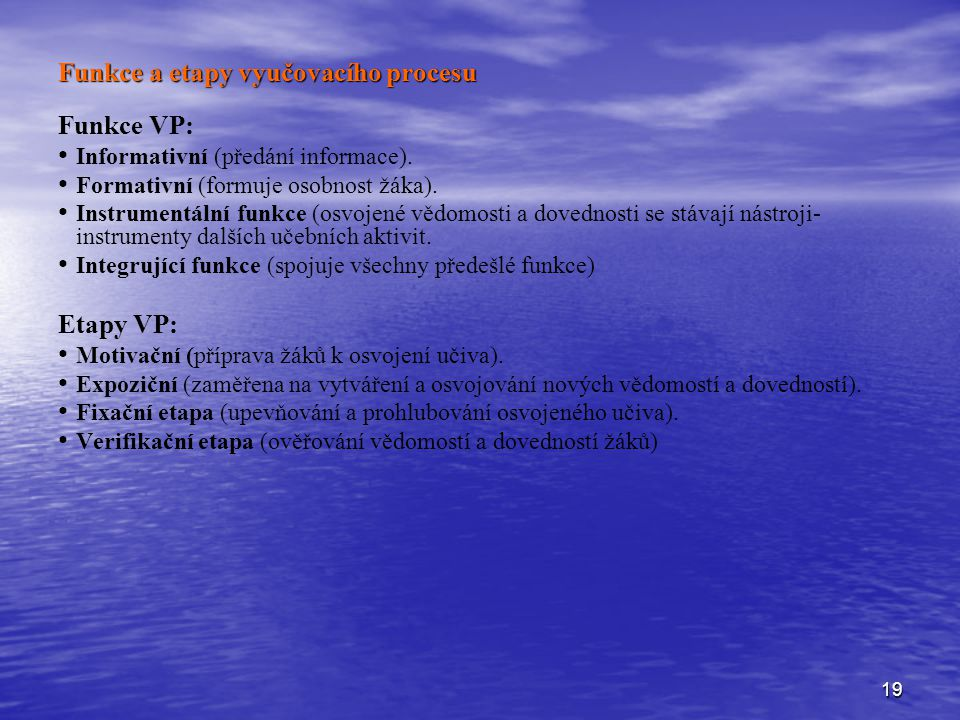 Funkce a etapy vyučovacího procesu