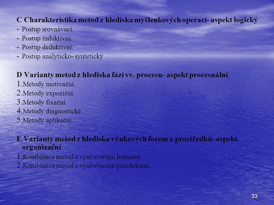 D Varianty metod z hlediska fází vv. procesu- aspekt procesuální