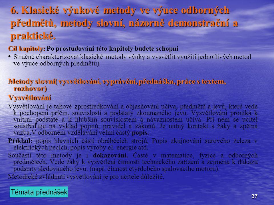 6. Klasické výukové metody ve výuce odborných předmětů, metody slovní, názorně demonstrační a praktické.