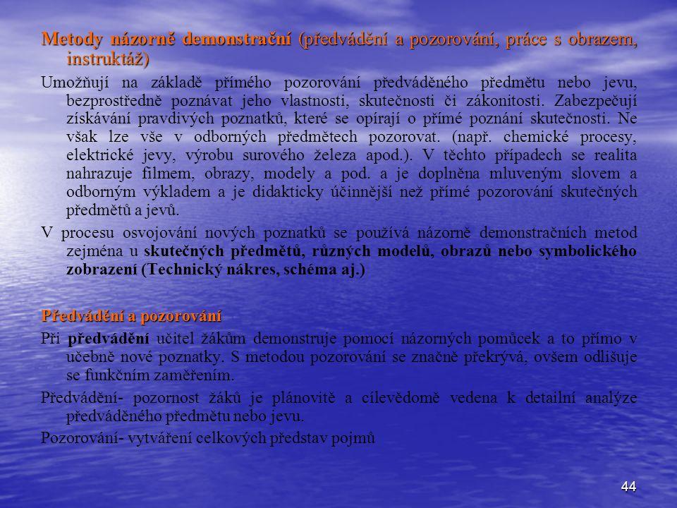 Metody názorně demonstrační (předvádění a pozorování, práce s obrazem, instruktáž)