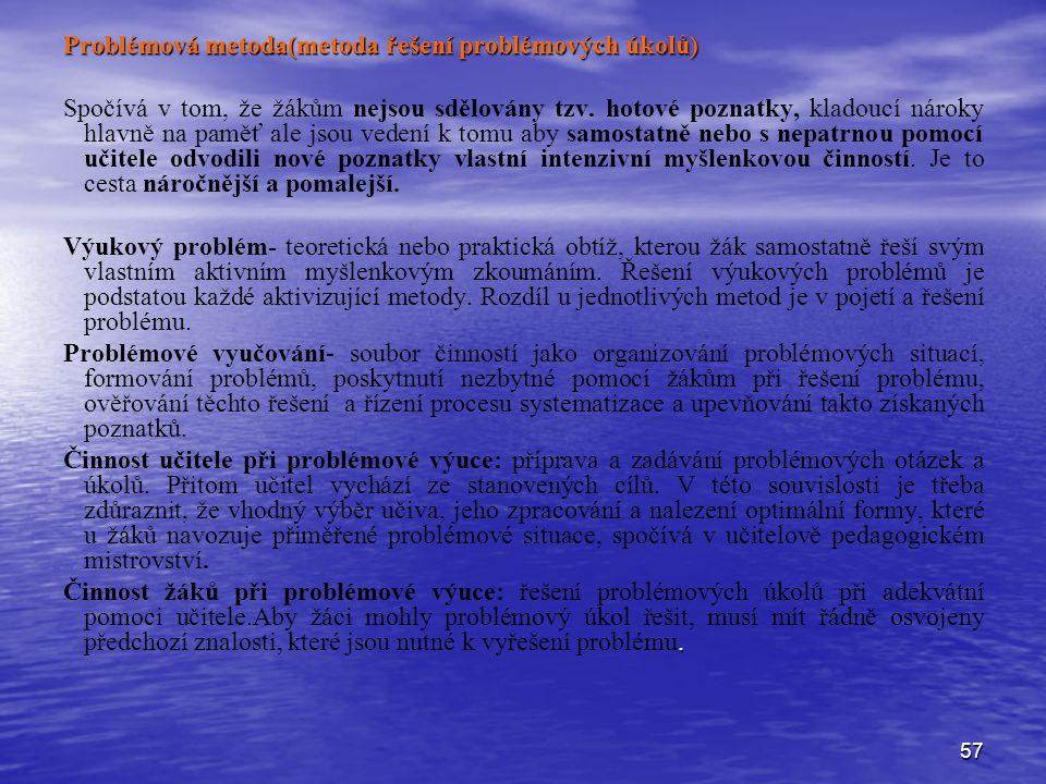 Problémová metoda(metoda řešení problémových úkolů)