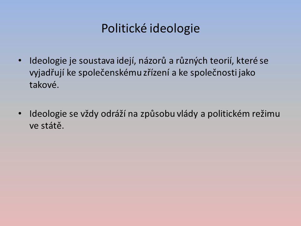 Politické ideologie Ideologie je soustava idejí, názorů a různých teorií, které se vyjadřují ke společenskému zřízení a ke společnosti jako takové.