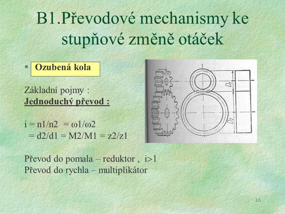 B1.Převodové mechanismy ke stupňové změně otáček